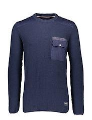O-neck knit - NAVY