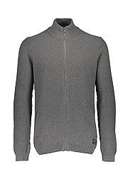Zip knit cardigan - GREY MEL