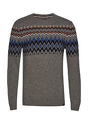 Lambswool jacquard knit - GREY MEL