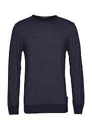 Striped cashmere o-neck knit - BLUE