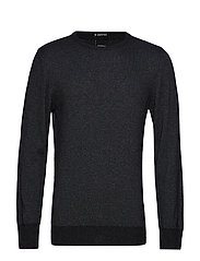 Striped cashmere o-neck knit - CHARCOAL