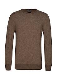 Striped cashmere o-neck knit - LT BROWN