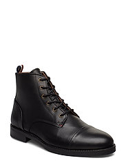 Leather boot with zip - BLACK