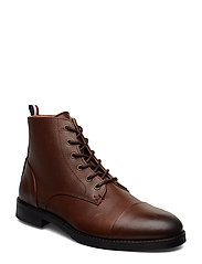 Leather boot with zip - BROWN