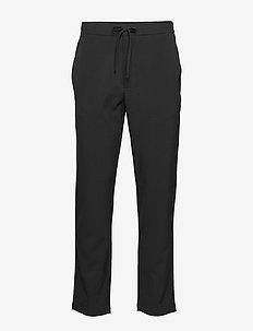 Wide pants - w. rib waistband - BLACK