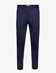 Club pants - knitted check - puvunhousut - blue check