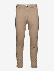 Superflex knitted cropped pant - puvunhousut - lt sand mix