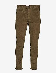 Cropped corduroy pants - casual broeken - army