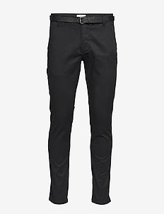 Classic stretch chino W. belt - chinos - black