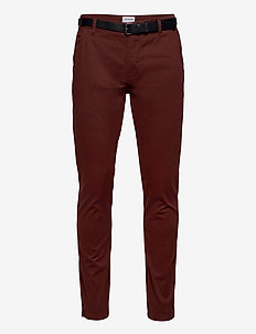 Classic stretch chino W. belt - chinos - bordeaux