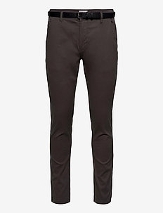 Classic stretch chino W. belt - chinos - mid grey