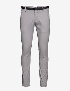 Classic stretch chino W. belt - chinos - silver