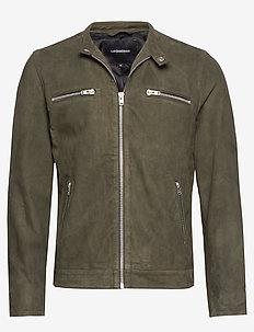 Goat suede biker jacket - OLIVE