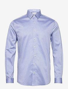 Herringbone shirt L/S - formele overhemden - mid blue