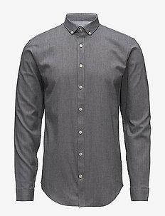 Mouliné stretch shirt L/S - peruspaitoja - black