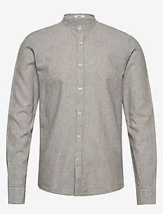 Linen shirt L/S - hørskjorter - grey striped