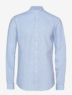 Linen mandarin shirt L/S - LIGHT BLUE