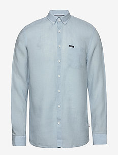 Linen L/S shirt - basic shirts - light blue