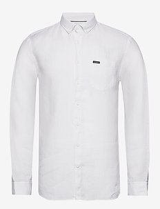 Linen L/S shirt - basic-hemden - white