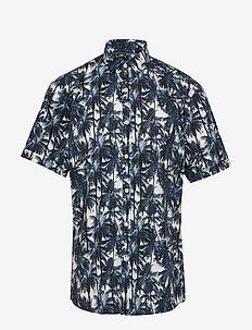 AOP palm leaves shirt S/S - BLUE