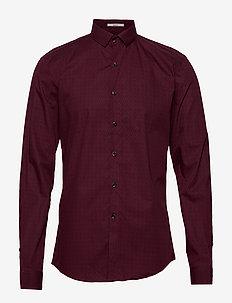 Ditsy print shirt L/S - DK RED