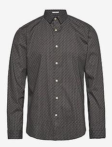 Dotted print shirt L/S - GREY