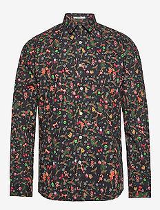 Christmas print shirt L/S - BLACK
