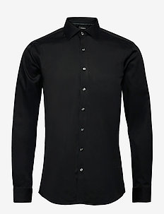 Plain fine twill shirt, WF LS - basic-hemden - black