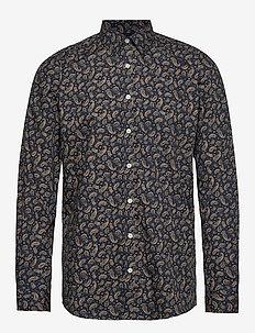 Printed L/S shirt - DARK CAMEL