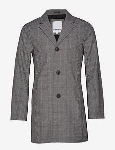 Checked bonded mac coat - GREY CHECK