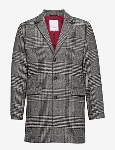 Checked coat - ullfrakker - grey check