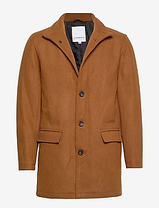Coat w stand up collar - trencze - lt brown