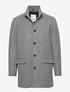 Coat w stand up collar - LT GREY MIX