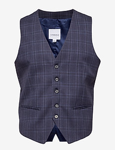 Waist coat for checked suit - NAVY CHECK