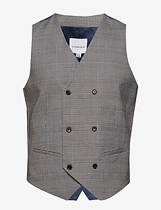 Double breasted checked waistc - westen - grey check