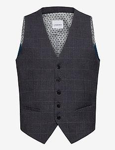 Checked waist coat - waistcoats - grey check
