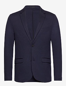 Knitted blazer - single breasted blazers - navy mix