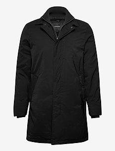 Twill coat w detachable collar - tynnere frakker - black