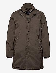 Twill coat w detachable collar - lette frakker - dk brown