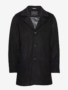 Melange wool coat - ullfrakker - black
