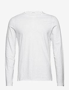 Raw o-neck tee L/S - basic t-shirts - white
