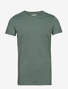 Striped mouliné o-neck tee S/S - MINT GREEN MIX