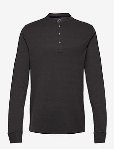 Ribbed granddad L/S - basis-t-skjorter - dk grey mel