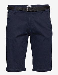 Classic chino shorts w. belt - chino's shorts - navy