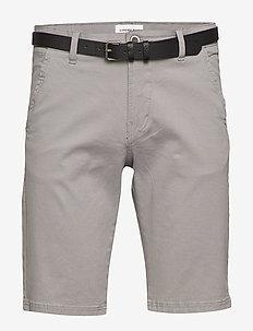 Classic chino shorts w. belt - spodenki chinos - silver