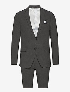 Seersucker checked suit - grey check