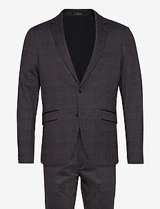 AOP checked suit - single breasted suits - grey check