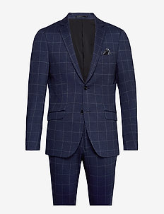 Checked knitted suit - enkeltkneppede dresser - blue check