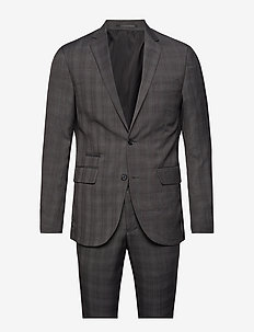 Checked mens suit - single breasted suits - grey check