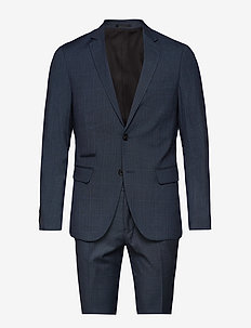 Checked mens suit - single breasted suits - blue check